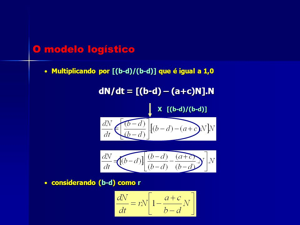 O modelo logístico dN/dt = [(b-d) – (a+c)N].N
